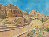 oil on canvas painting of the Obelisk tomb at Petra