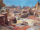 oil on canvas painting of Petra Steps, to High Place, Jordan