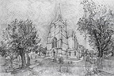pencil drawing of Tetbury Church