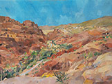 oil on canvas painting of the Turkmanniyah Valley Petra